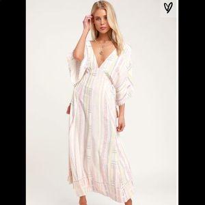 NWT Lulu's Graceful Grace Pink Print Midi Dress